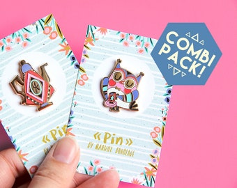 Owl and tea pot pin COMBI-PACK - hard enamel pins - brooch