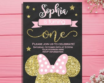 Minnie Mouse Birthday Invitation - Pink and Gold girls first birthday invitation - Chalkboard invites - minnie mouse birthday party