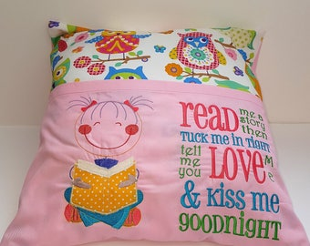 Embroidered read me a book cushion/pillow