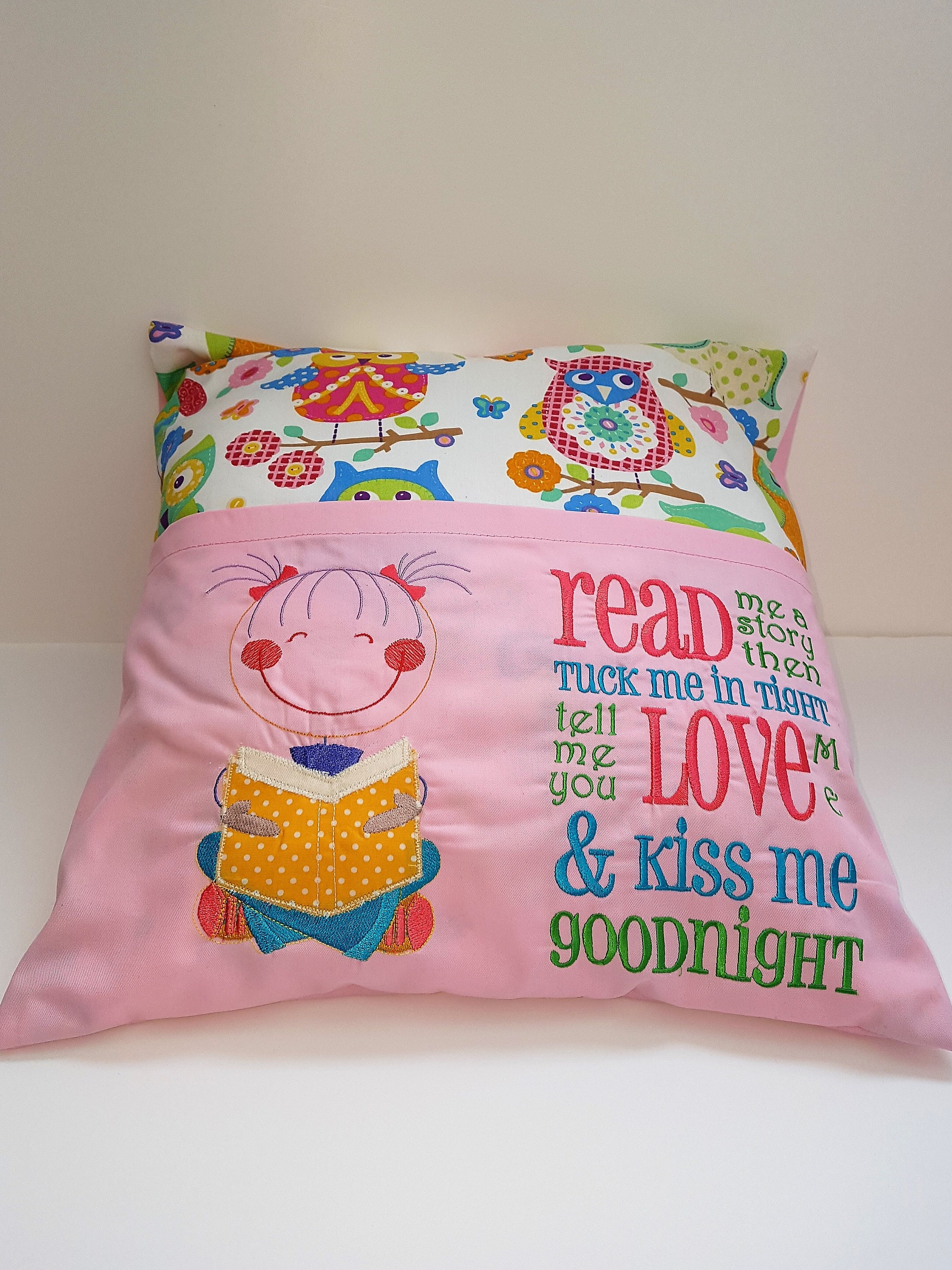 embroidered read me a book cushion pillow