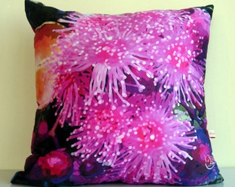 PINK flowers,Decorative pillow cover,Australia,botanical print,wild flowers,floral,eco friendly,organic cotton,cushion cover,43cm x 43cm