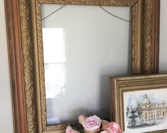 Large Ornate Antique Picture Frame with Glass