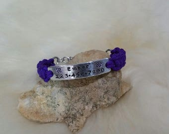 Kid's ID ADJUSTABLE Bracelet Custom Hand Stamped Aluminum Stainless Steel with Paracord Band and Chain Personalized