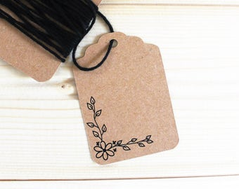 Kraft Paper Tags - White Gift Tags - Handmade Gift Tags - Wedding - Bridal Shower - Favor Tags - 25 Tags - Hang Tags - Packaging - T09