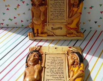 Vintage 1960s Roadside Kitsch Un PC Indian Plaques Howe Caverns