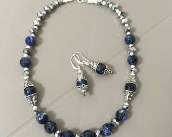 Sodalite and Tibetan Silver hyper classy necklace and earrings set
