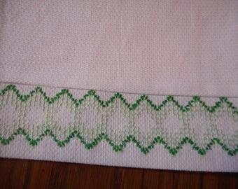 Vintage Handmade Dishtowel, Swedish Huck Embroidery - Green Stitching, extra large