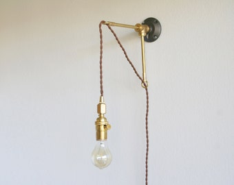 Brass bracket with hanging light - metal bracket Hanging Lamp - hanging Edison Lamp