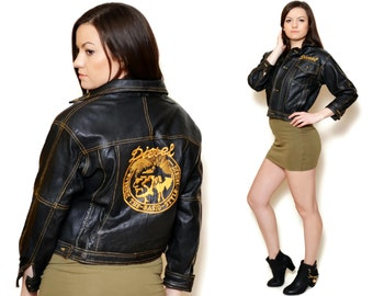 80s jacket black long sleeve trucker leather biker women embroidered embroidery diesel punk rock and roll grunge women pattern short vintage