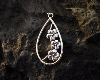 Sterling Silver Floral Teardrop Pendant - #205