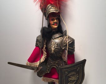 Early 1900s Sicilian rod conquistador marionette with wood body and metal armor