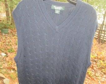Brooks Brothers vintage like new 100% sea island cotton navy blue V neck pullover vest. Sz L-see description for measurements.