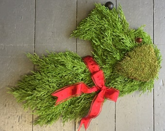 Dog head real fresh foliage Christmas door wreath - LASTS OVER 3 MONTHS!