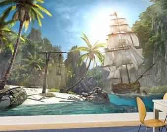 Treasure Island Wall mural, Pirates Wallpaper, Wall décor, Wall decal, Nursery and room décor, Wall art