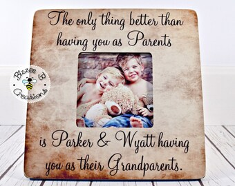 ON SALE Personalized Grandparent Gift, The Only Thing Better Than Having You As Parents, Gift for Parents, Grandchild Picture Frame, Mother'