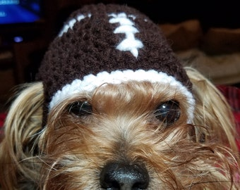 DOG FOOTBALL HAT, Crochet Dog Hat, Cat Hat, Dog Clothes, Cat Football Hat, Pet Hat, Pet Clothing, Handmade, New
