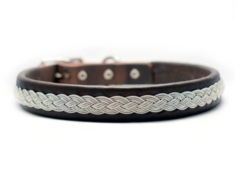 Swedish Sami Dog collar of pewter thread with 4 % silver, and reindeer leather