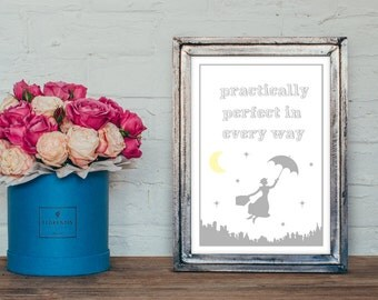 Mary poppins Nursery wall art - inspirational print  -christening gift -new baby gift -