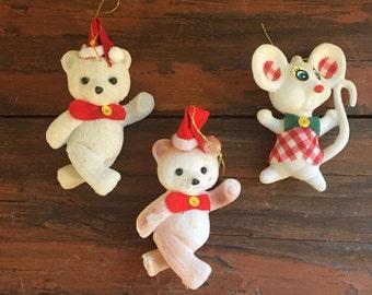 Set of Three Flocked Christmas Tree Ornaments / Bear / Mouse / Kitsch Christmas / Holiday Decoration