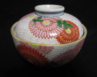 Red and Pink Chrysanthemum  Japanese Vintage Porcelain Lidded Bowl from 1970s