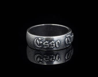 Esse Quam Videri latin phrase ring, silver-plated brass, size US 10 / 20mm, handmade