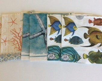 By the Sea Napkin bundle.....Decopauge, Art Journal, Altered Items, Mixed Media.