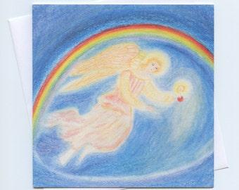 Waldorf fine art Christmas card, Christmas card, Christmas angel, Holiday card, Xmas card, Advent card, Angel card