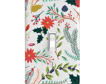 Scrapbook Cutout Flowers Printed Light Switch Cover, Bedroom Decor, Home Decor, outlet covers, Wall Decor, Kitchen Decor, Bathroom Decor
