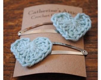 Light blue heart hair clips
