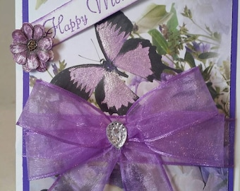 Beautiful handcrafted purple Mother's day card