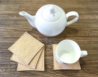 Coasters, Fabric Coasters, Tea Coasters, Coffee Coasters - Mustard Dots