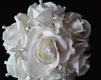 Beach Bridal Toss Bouquet-Starfish Bridal Toss bouquet-Beach Themed Wedding Flowers