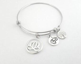 OM bangle - Yoga bangle - OM bracelet - Yoga bracelet - OM jewelry - Yoga Jewelry - Om Yoga - Ohm - Om - Meditation bracelet
