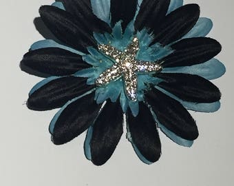 Black and Blue Starfish Flower Hair Clip