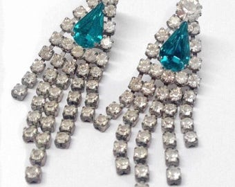 Vintage Green and Clear Rhinestone Drop Earrings - 1970s/80s