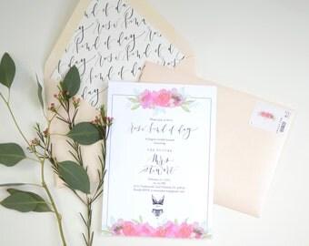 "Semi Custom Bridal Shower Invitations ""Rosé Kind of Day"""