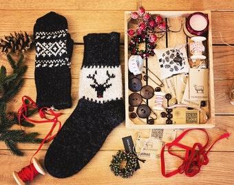 Knitted Wool Socks, Wool Socks, Christmas Socks, Unisex socks