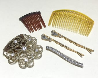 Lot of six vintage hair combs and bobby pins, vintage hair accessory lot, vintage bobby pin lot, vintage accessory lot, rhinestone bobby pin