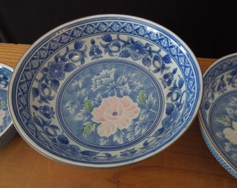 Blue White Ceramic Nesting Serving Bowls - Pink Flower - Set of 3 Vintage Decorative China Bowl Set Floral Asian Design