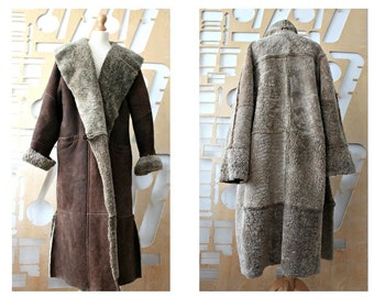 Sheepskin Long Coat Oversized Edwardian Boho Winter coat Suede coat Sheepskin coat Shearling coat Hipster Fur coat Festival Hippie Folk