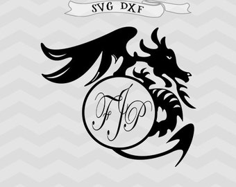 Dragon svg Dragon monogram svg Boy monogram svg Dragon Cricut downloads Cricut files Boy monogram Boy svg files for Silhouette files DXF