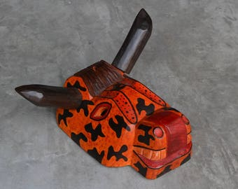 Orange African Bull Mask Hand-Carved Hand-Painted from Guatemala