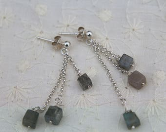 Labradorite  Earrings, Dainty, 925 Sterling Silver, Cubes, Multi Coloured, Multi Length, Gift, Birthday, Evening Wear, Prom,
