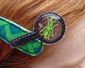 Bug Hunter - Hair Clip - Magnifying Glass - Bug - Snap Clip - Green - Feltie - Entomologist - Boys - Girls - Wool Blend Felt - 5cm Clip