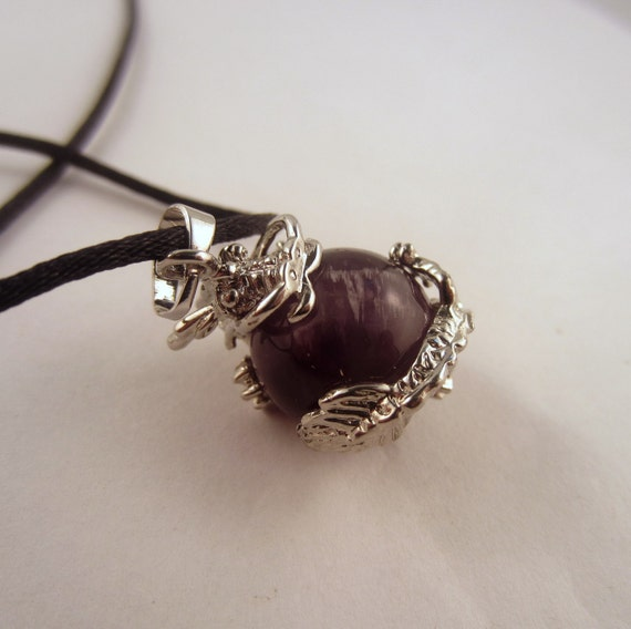 Amythyst Dragon ball Necklace: Natural Crystal Pendant, Stone Jewelry