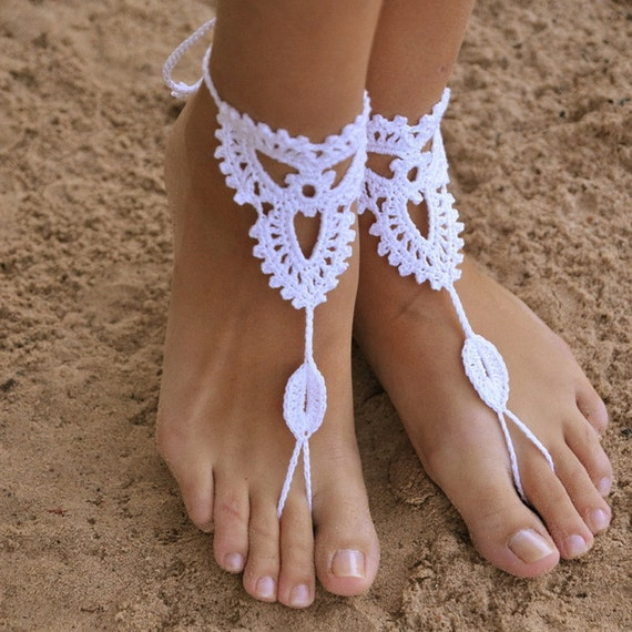 Lace up Wrap around Anklets In White Perfect for Beach or Yoga