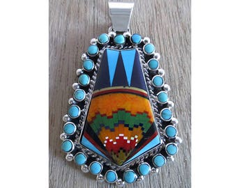 Tremendous Inlay Bordered With Turquoise Sterling Silver Pendant