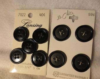 Set of 9 Vintage Black Buttons on Cards