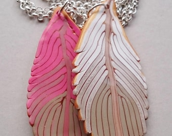 Pink Polymer Clay Feathers Necklace (#0004)