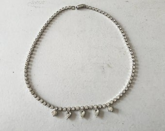 Vintage Clear Rhinestone Necklace 0819